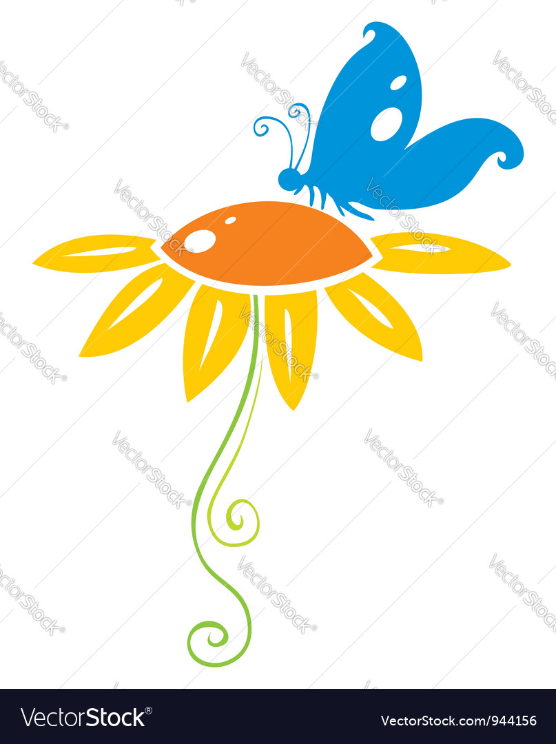 Butterfly on flower vector | Price: 1 Credit (USD $1)