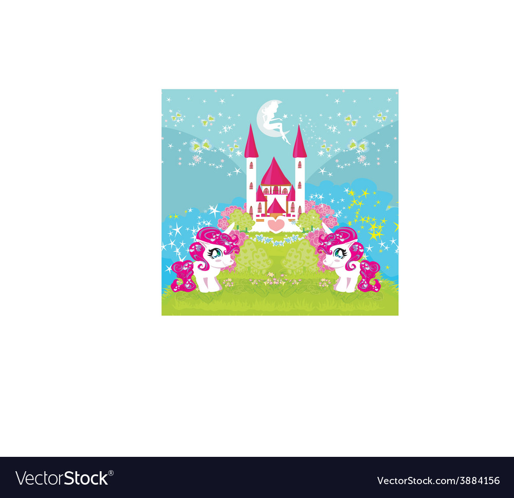 Card with a cute unicorns and magical castle vector | Price: 1 Credit (USD $1)
