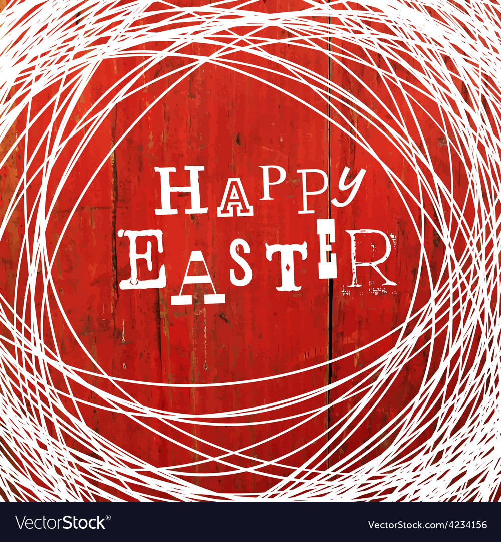 Easter card on red wooden board vector | Price: 1 Credit (USD $1)