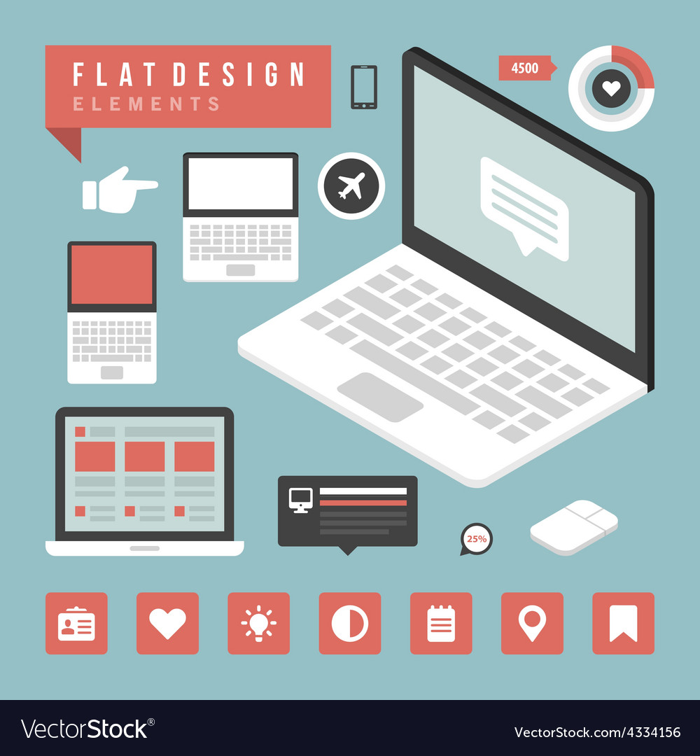 Flat devices and icons infographic design el vector | Price: 1 Credit (USD $1)