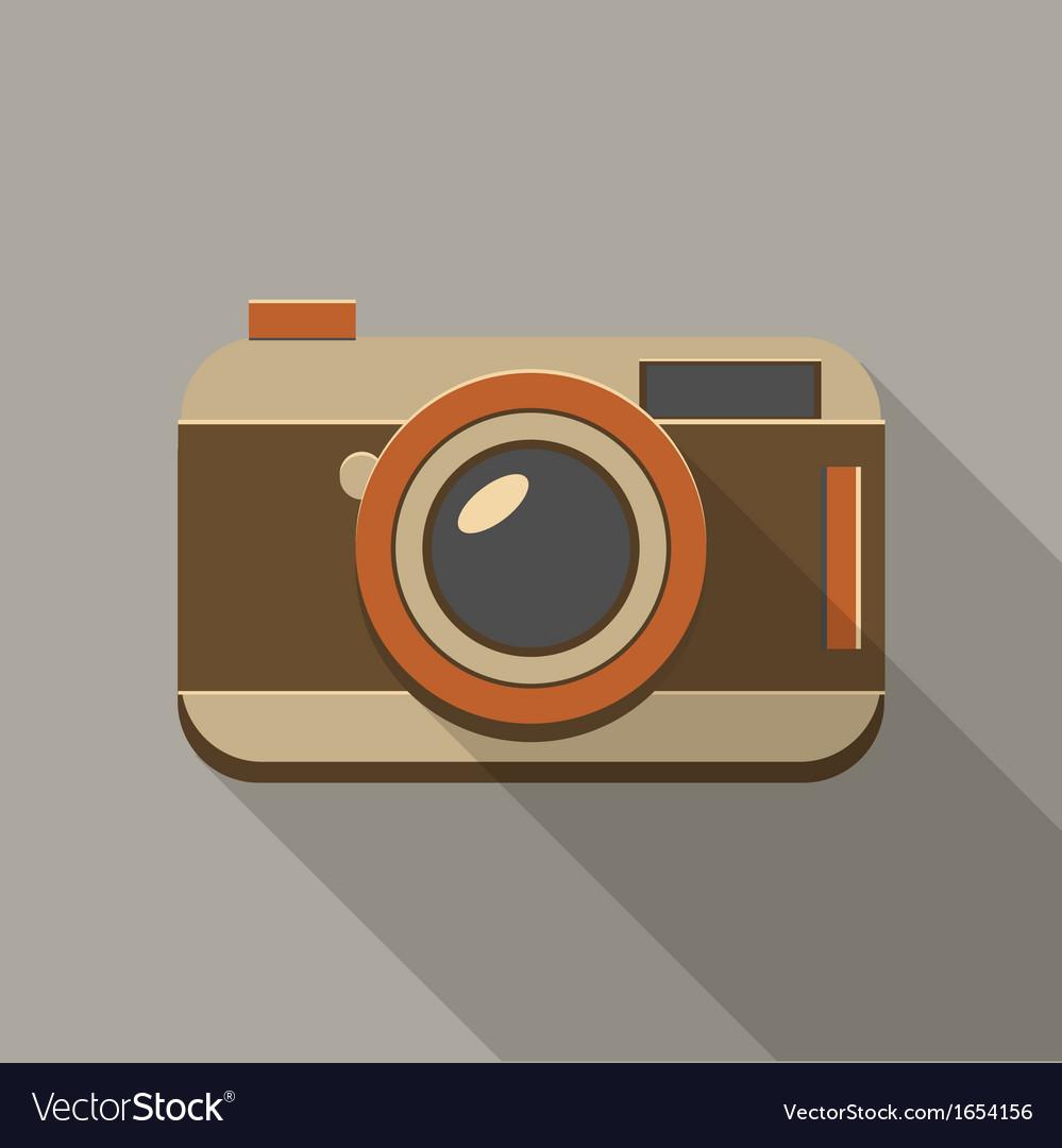 Flat long shadow retro camera icon vector   Price: 1 Credit (USD $1)