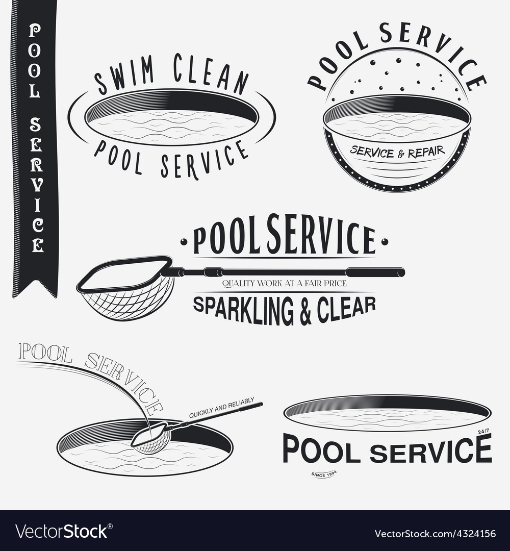 Pool service clean and repair set of typographic vector | Price: 1 Credit (USD $1)