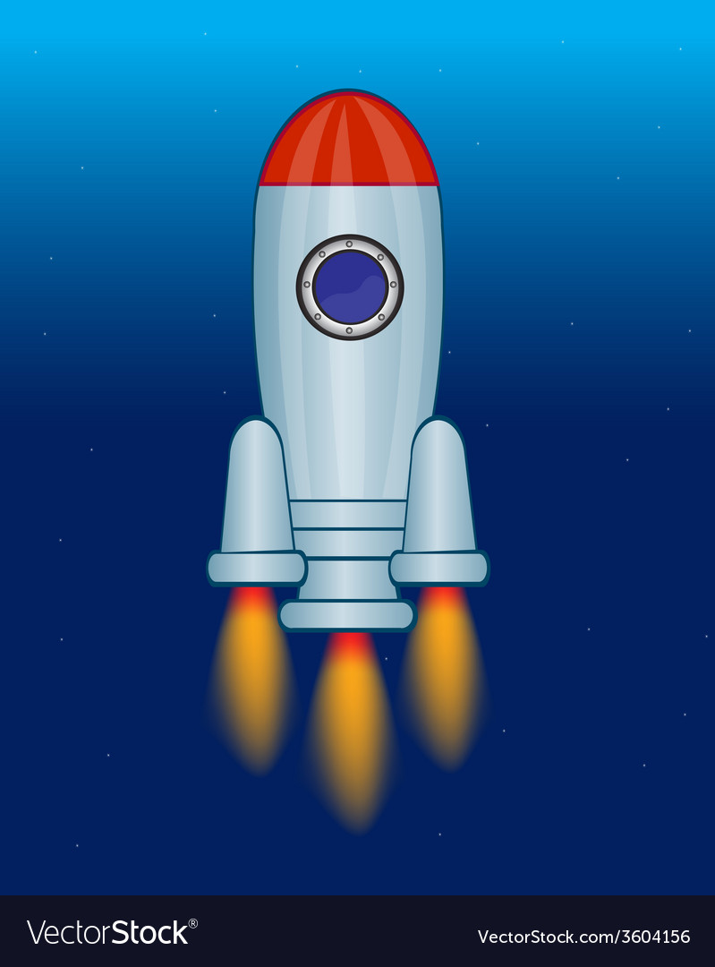 Rocket in cosmos vector | Price: 1 Credit (USD $1)