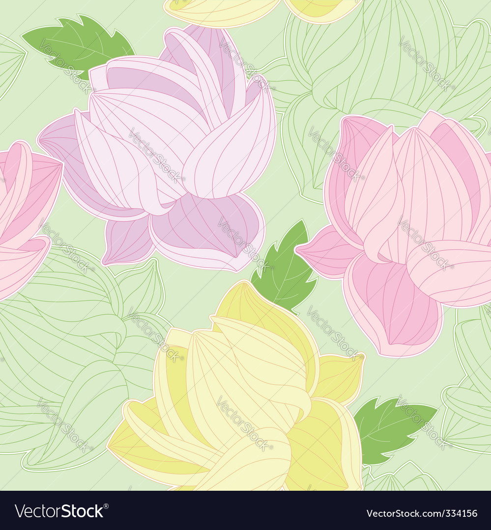 Seamless pattern with colored lotus vector