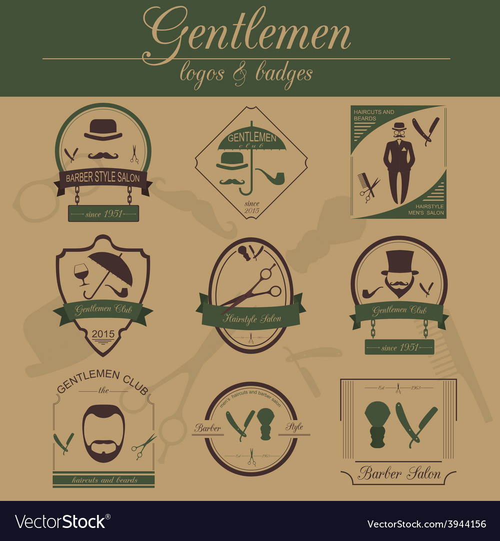 Set of vintage barber hairstyle and gentlemen club vector | Price: 1 Credit (USD $1)