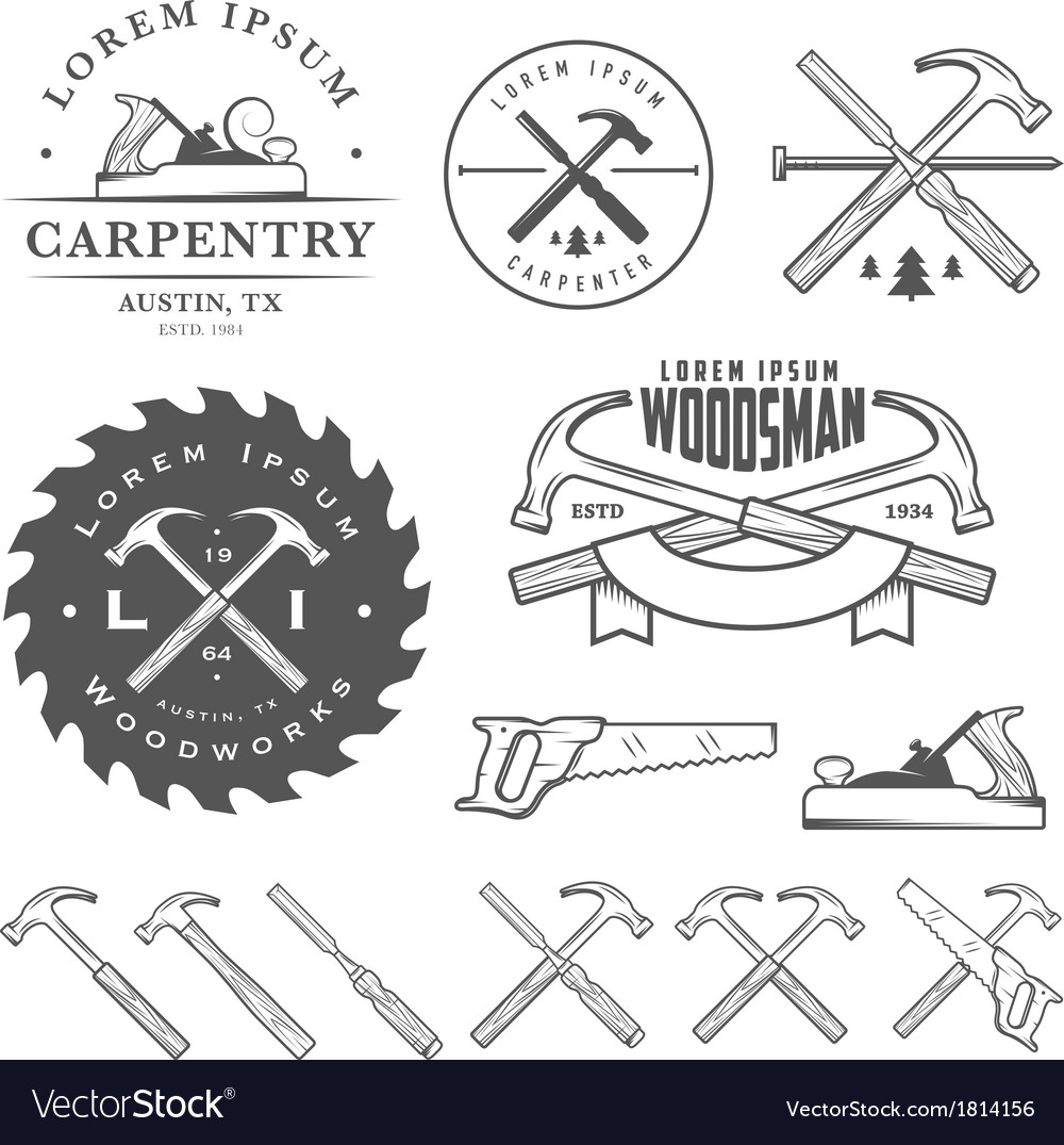 Set of vintage carpentry design elements vector | Price: 1 Credit (USD $1)