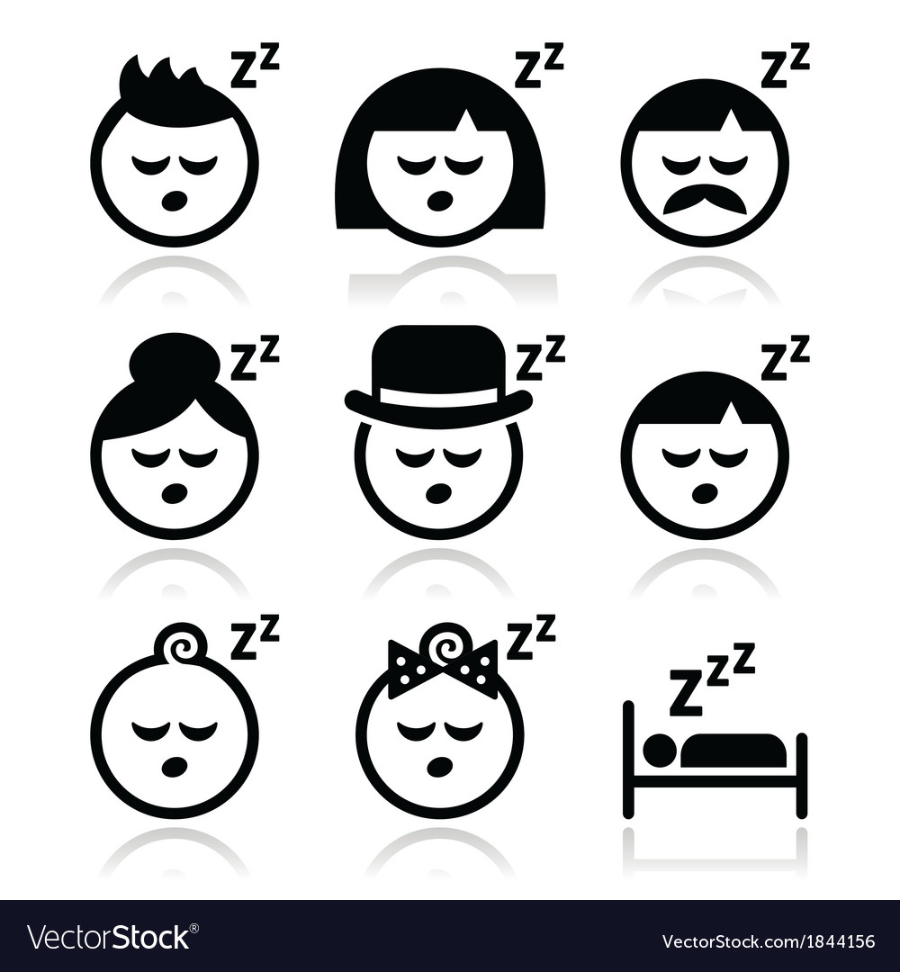 Sleeping dreaming people faces icons set vector | Price: 1 Credit (USD $1)