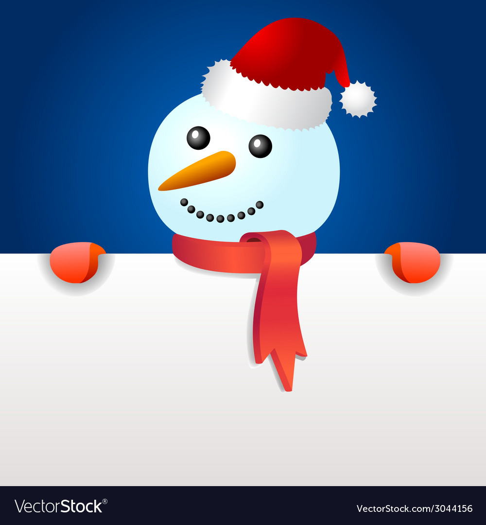 Smiling snowman holding blank page vector | Price: 1 Credit (USD $1)