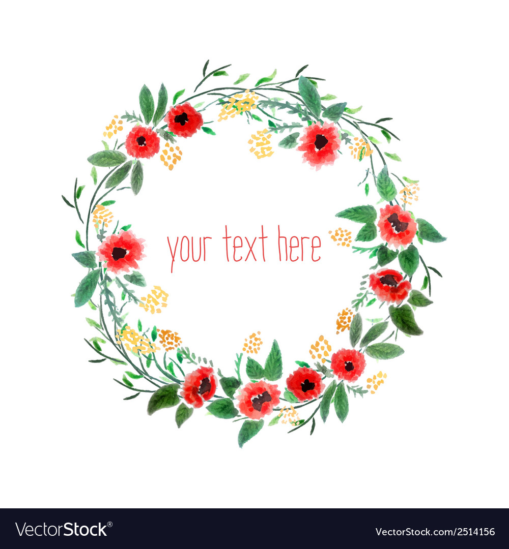 Watercolor wreath with flowers vector | Price: 1 Credit (USD $1)