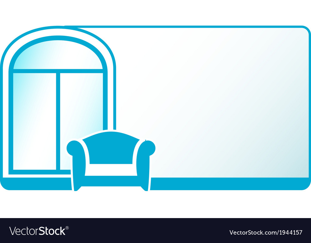 Armchair and glossy window on blue background vector | Price: 1 Credit (USD $1)