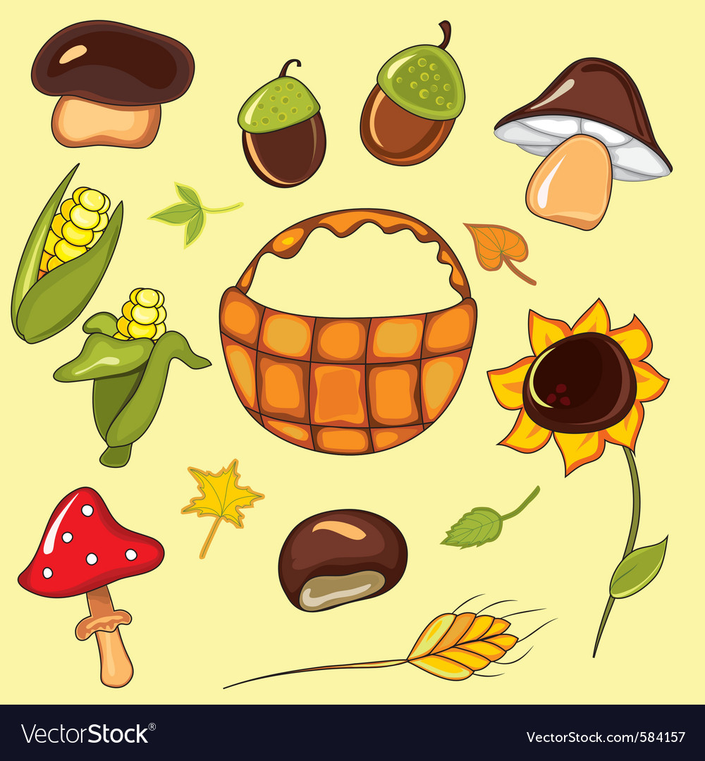 Autumn set elements vector | Price: 1 Credit (USD $1)