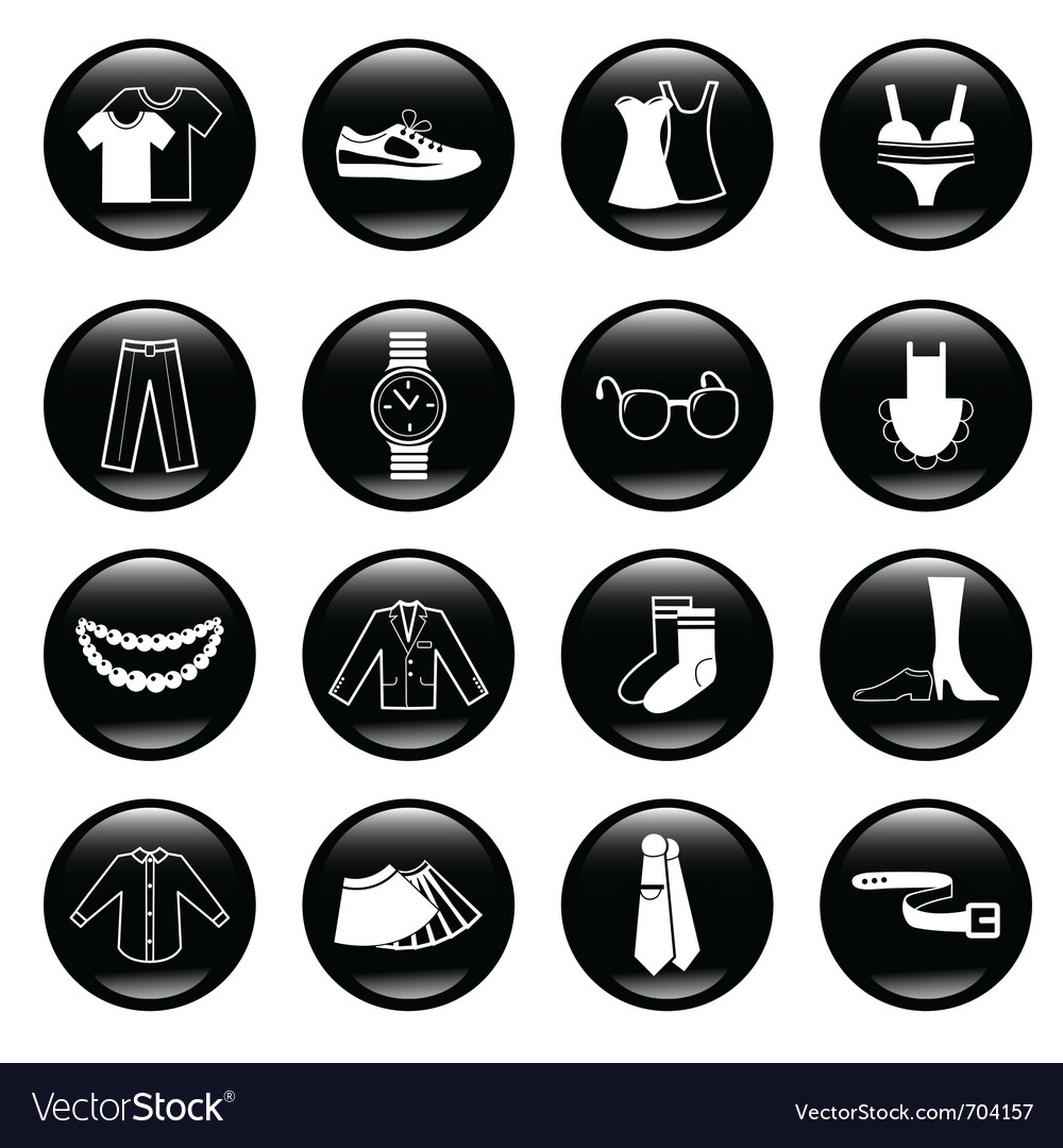 Black clothes icons vector | Price: 1 Credit (USD $1)