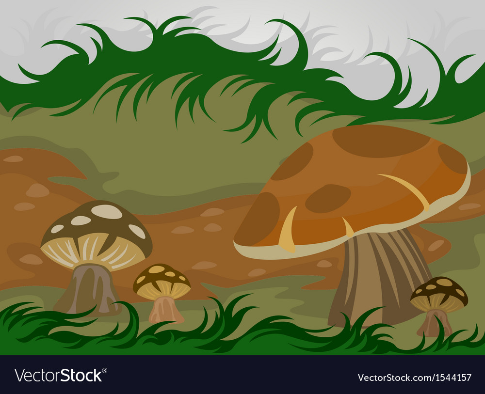 Cartoon mushrooms nature vector | Price: 3 Credit (USD $3)