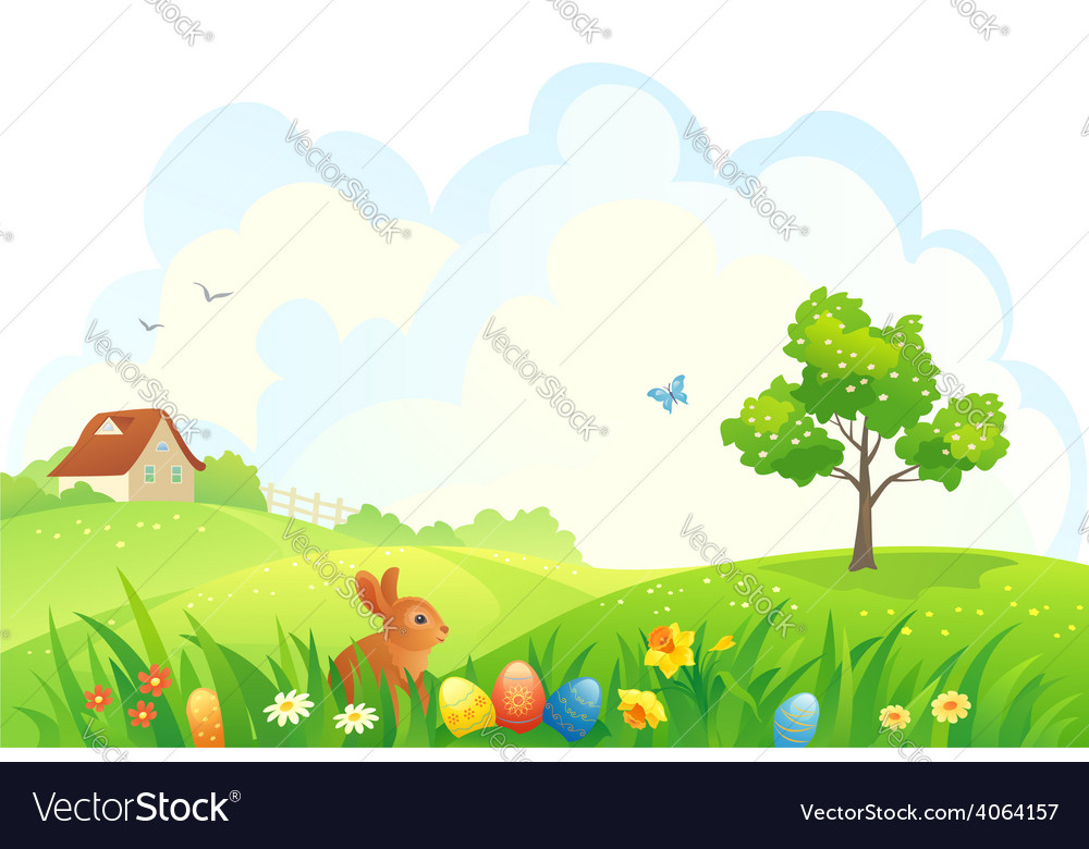 Easter scene vector | Price: 1 Credit (USD $1)