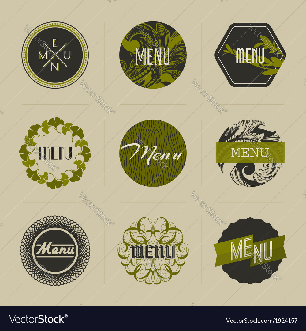 Elegant nature-themed badges in green vector | Price: 1 Credit (USD $1)