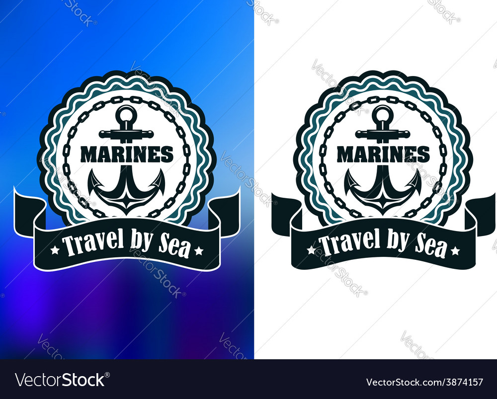 Marines round label or badge with anchor vector   Price: 1 Credit (USD $1)