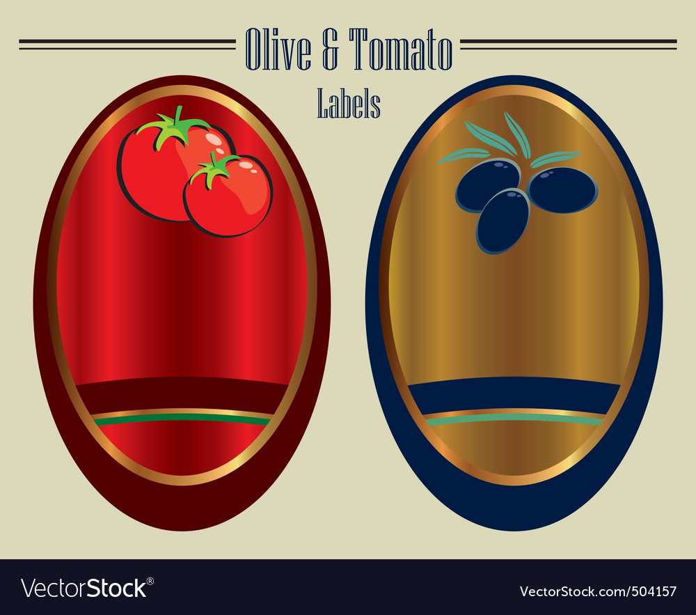 Olive and tomato labels vector | Price: 1 Credit (USD $1)