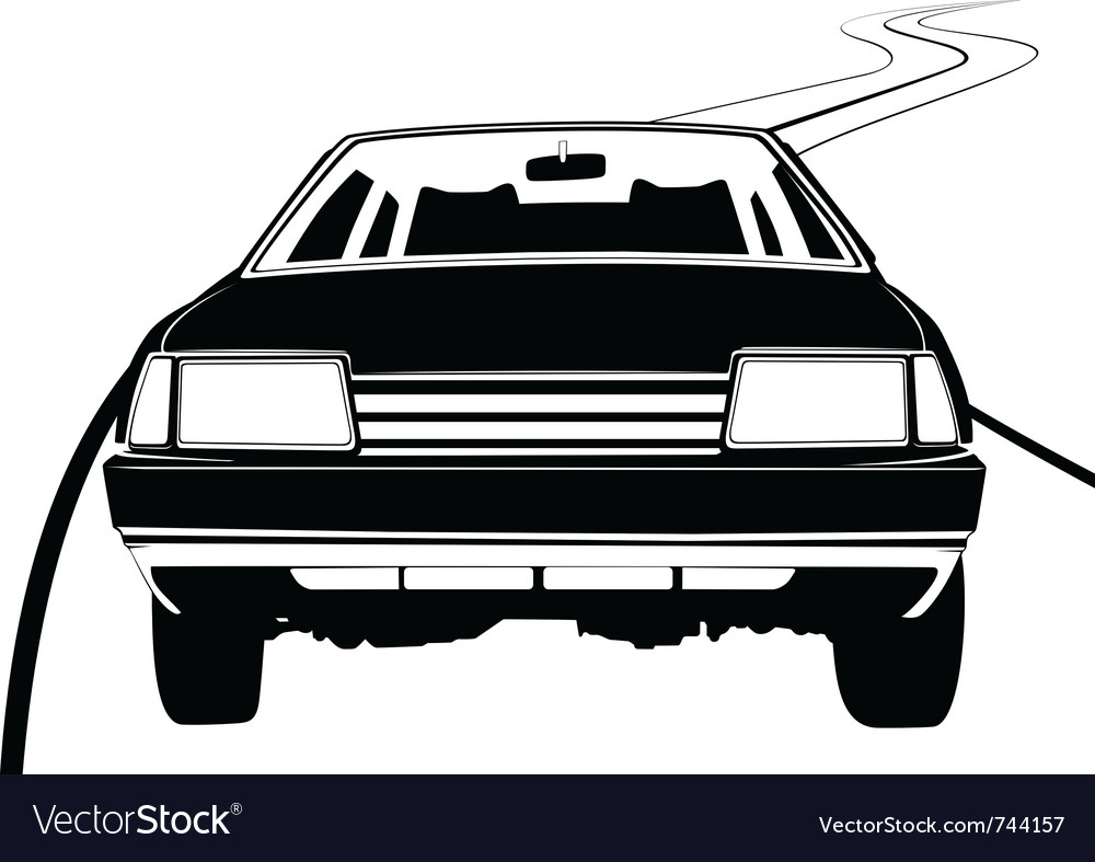 Passenger car on the road vector