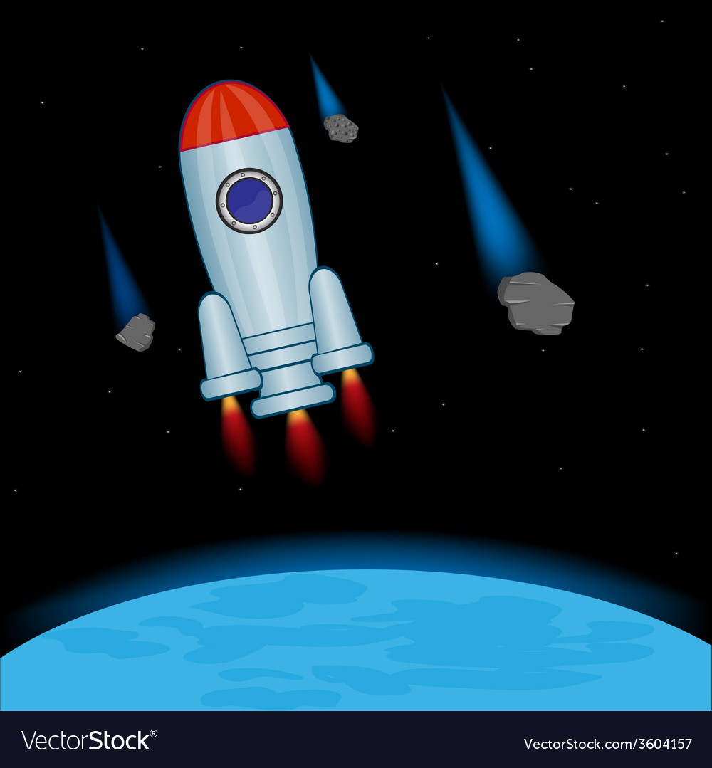Rocket in open cosmos vector | Price: 1 Credit (USD $1)
