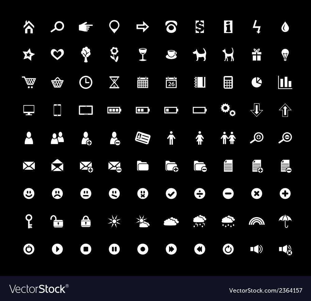 Set of 90 web icons vector | Price: 1 Credit (USD $1)