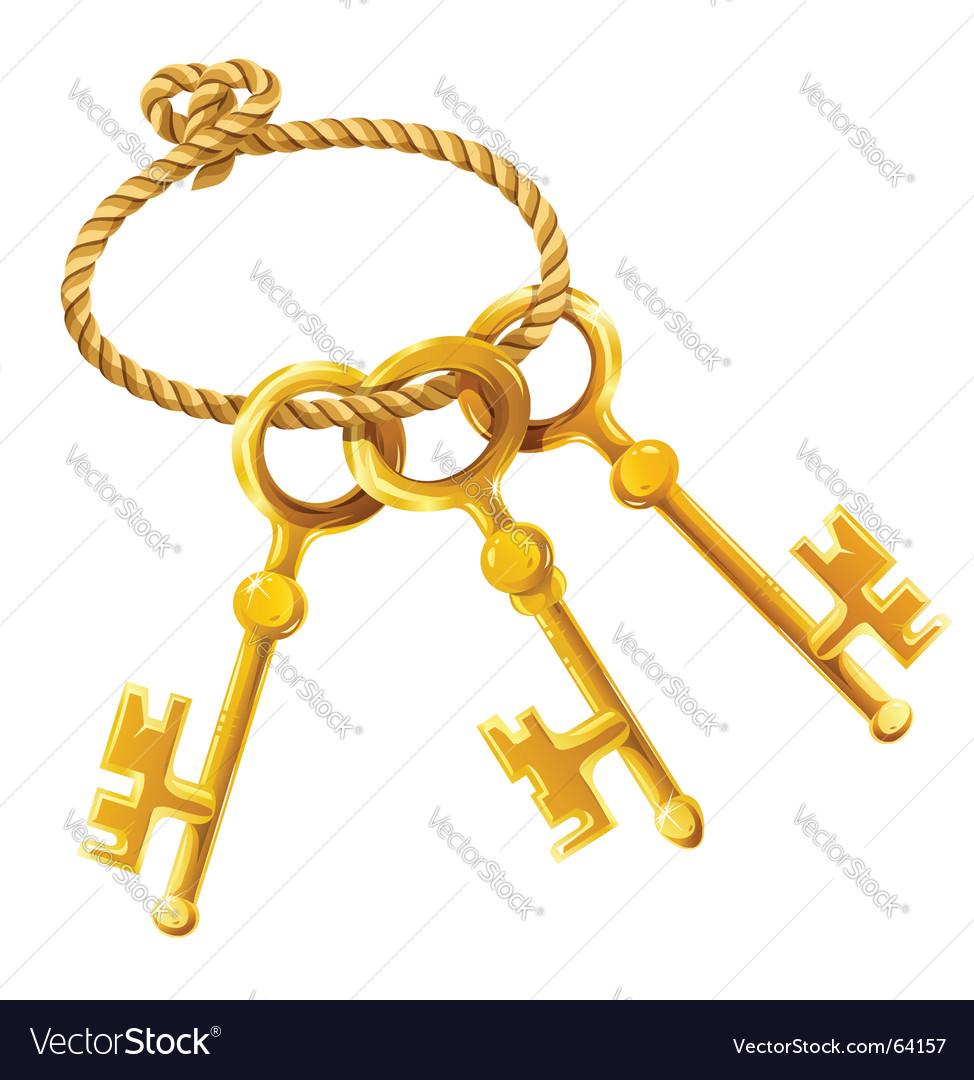 Set of gold keys vector | Price: 1 Credit (USD $1)