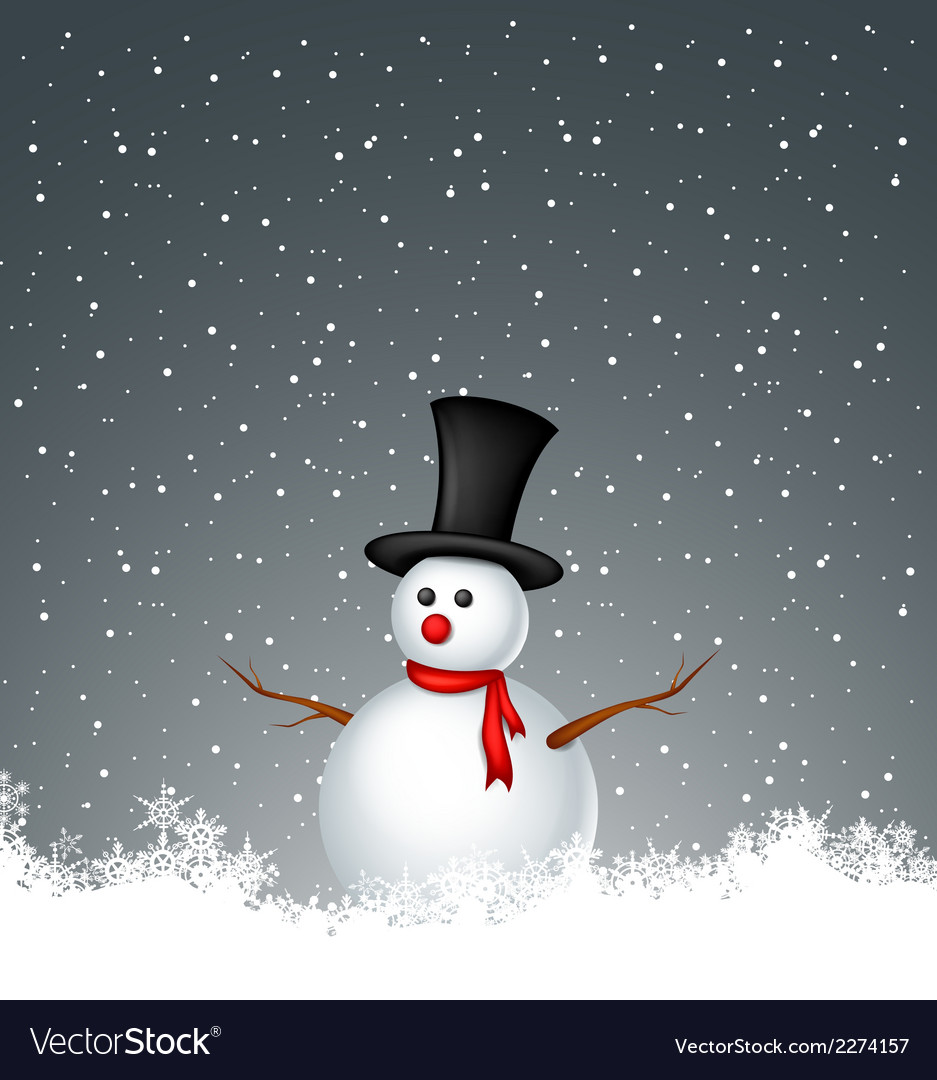 Snowman with snow background vector | Price: 1 Credit (USD $1)