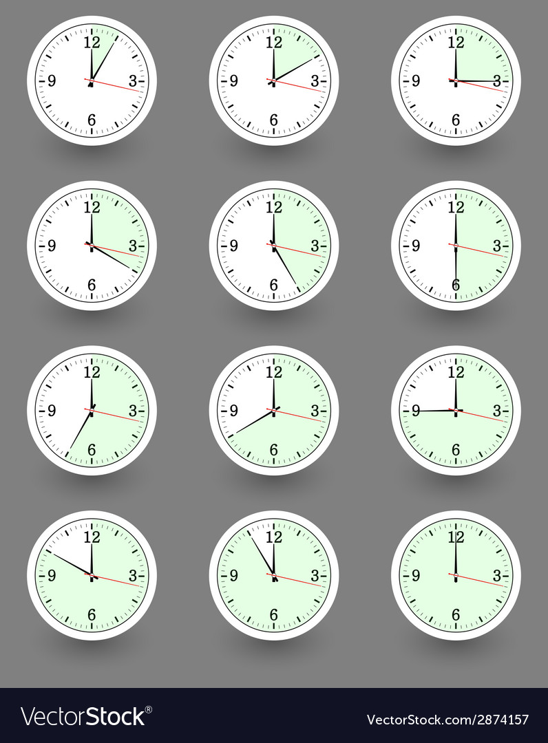 Twelve clocks showing different time vector | Price: 1 Credit (USD $1)