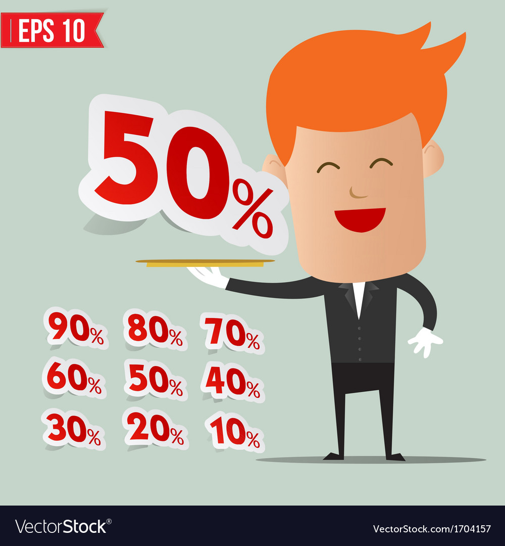 Waiter serving sale label tag - - eps10 vector | Price: 1 Credit (USD $1)