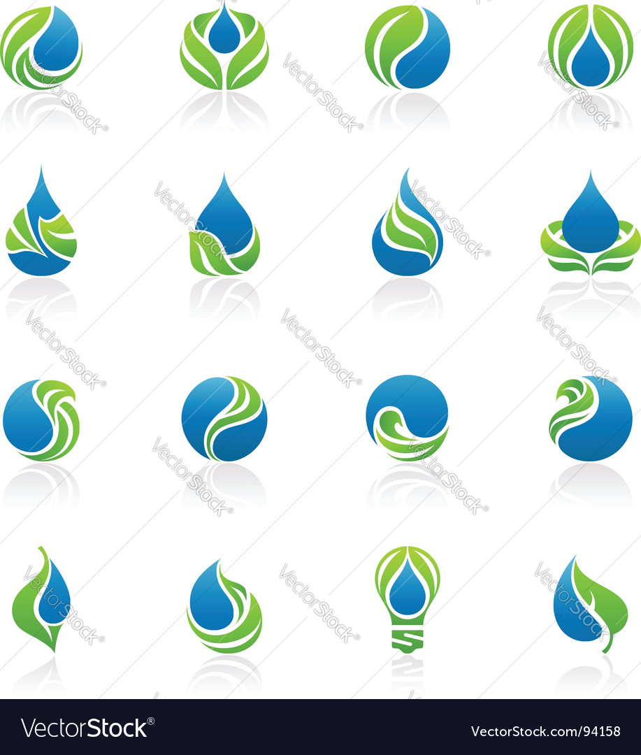 Drops and leaves design elements vector | Price: 1 Credit (USD $1)
