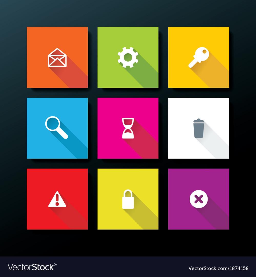 Flat web icon set vector | Price: 1 Credit (USD $1)