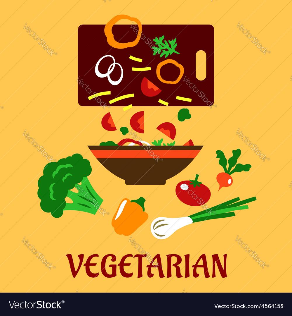Healthy vegetarian cuisine flat concept vector | Price: 1 Credit (USD $1)