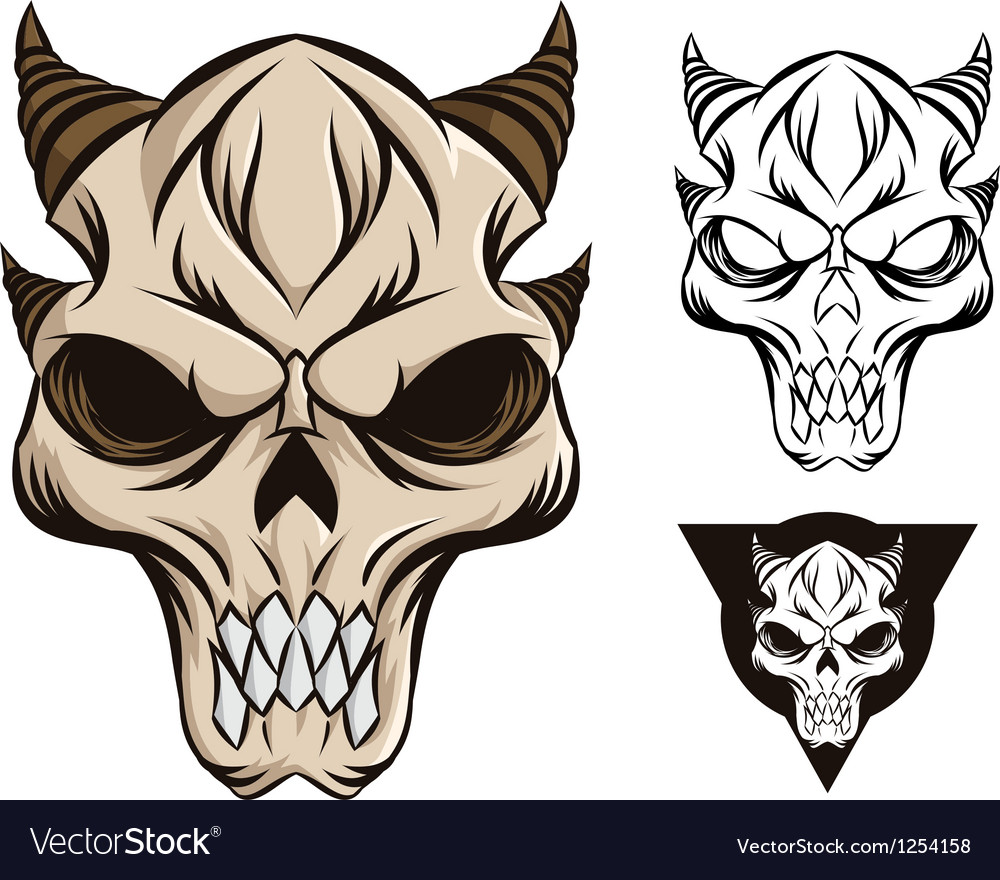 Horned skull vector | Price: 1 Credit (USD $1)