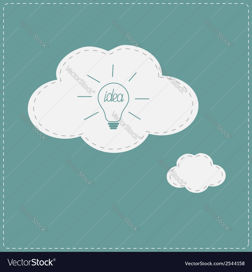 Idea light bulb in speech and thought bubble cloud vector | Price: 1 Credit (USD $1)