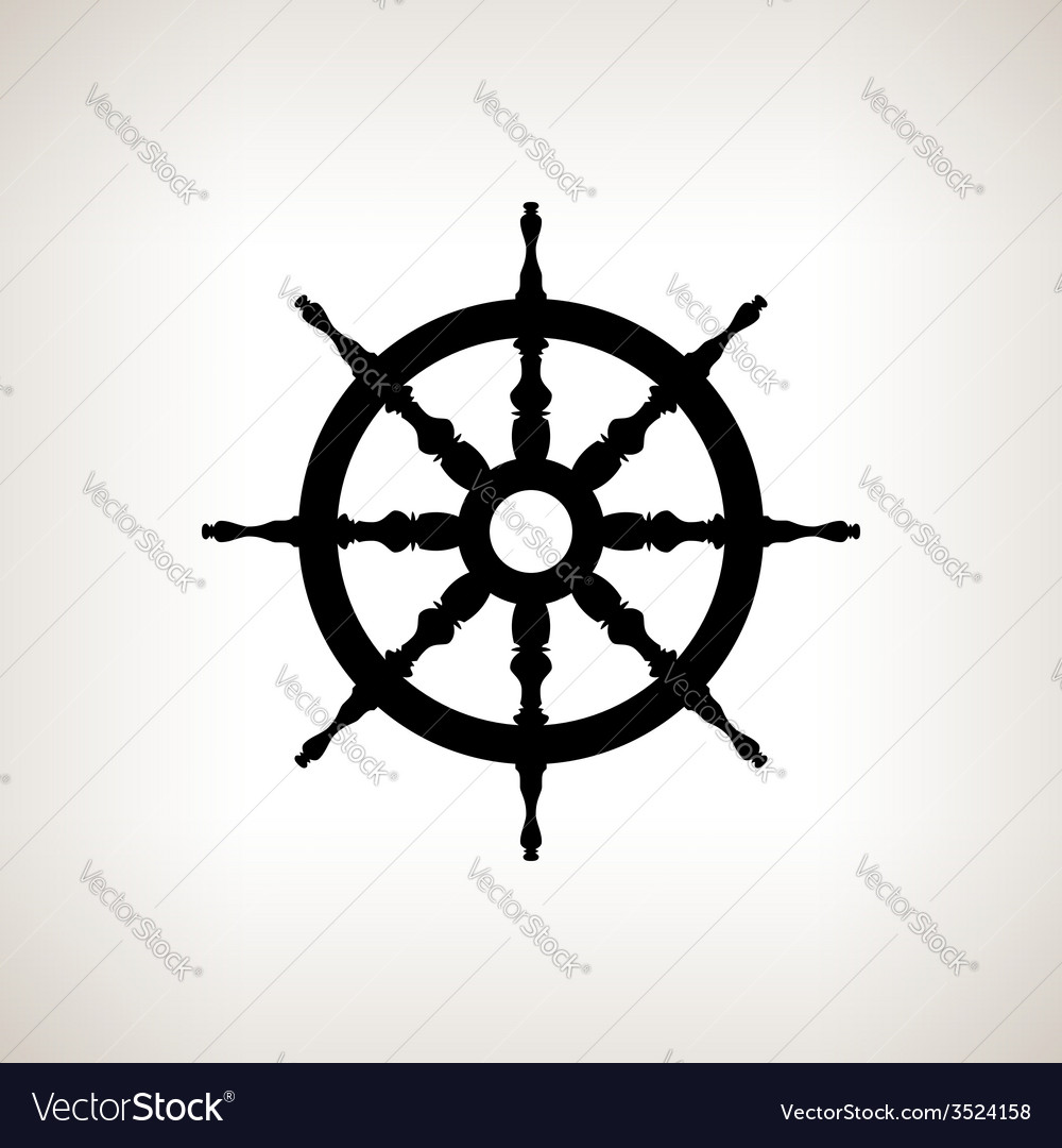 Silhouette ship wheel on a light background vector | Price: 1 Credit (USD $1)