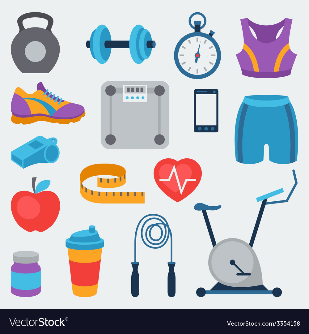 Sports and fitness icons set in flat style vector   Price: 1 Credit (USD $1)