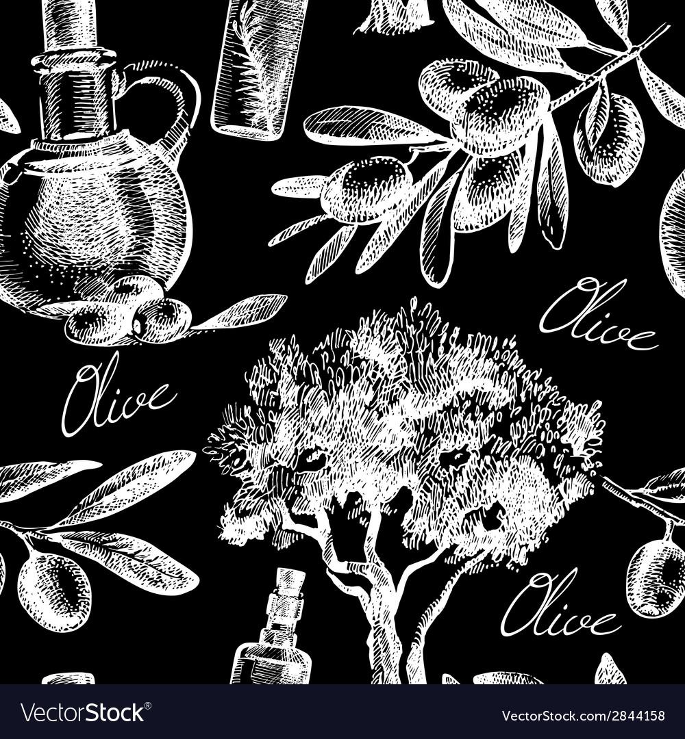 Vintage olive seamless pattern vector   Price: 1 Credit (USD $1)