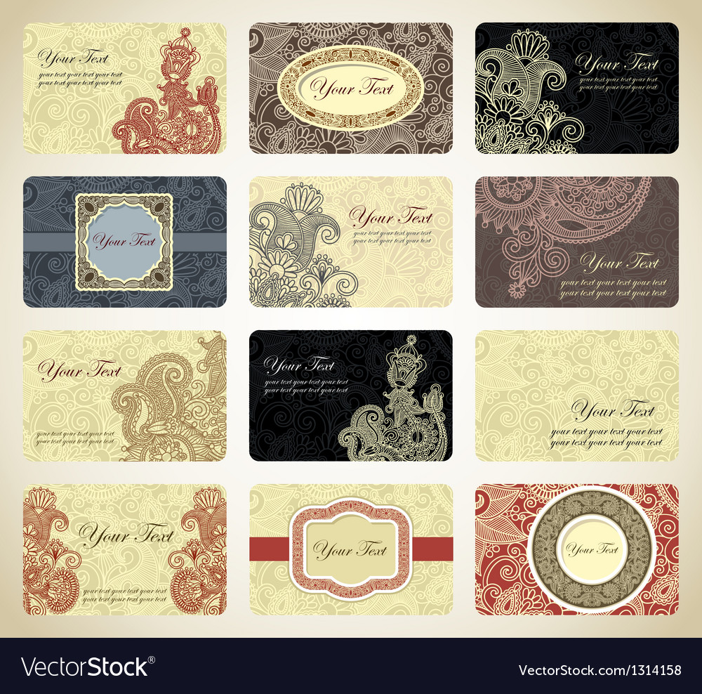 Vintage ornamental business card collection vector | Price: 1 Credit (USD $1)