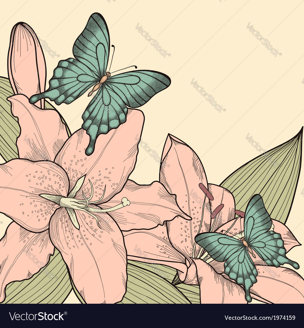 Background for card with butterflies lily leaves vector | Price: 1 Credit (USD $1)