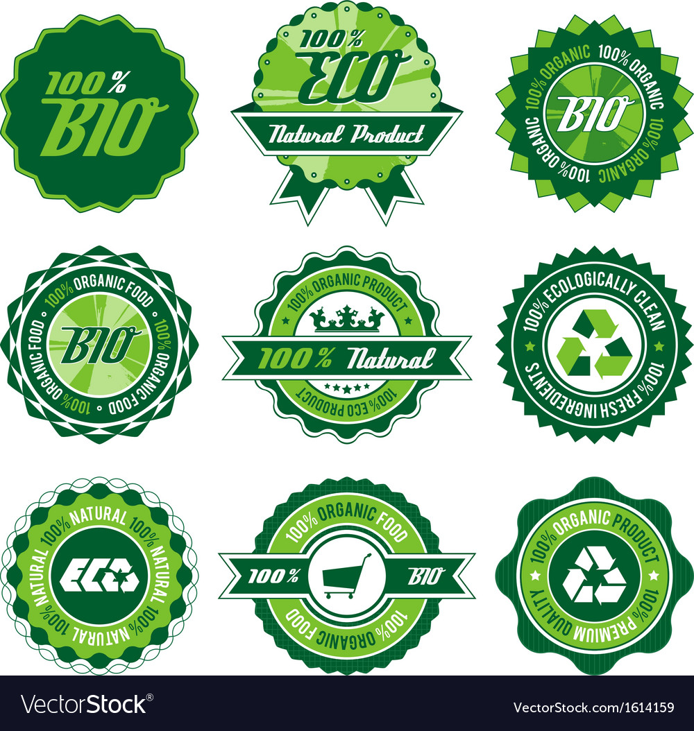 Bio label set vector | Price: 1 Credit (USD $1)