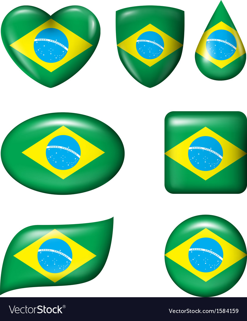 Brazilian flag in various shape glossy button vector | Price: 1 Credit (USD $1)