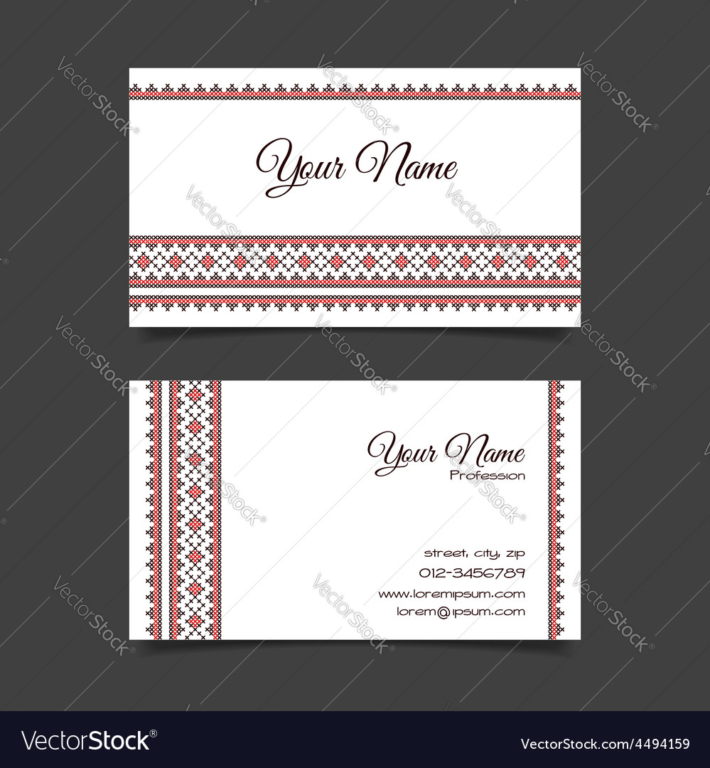 Business card template with stylish crossstitch vector