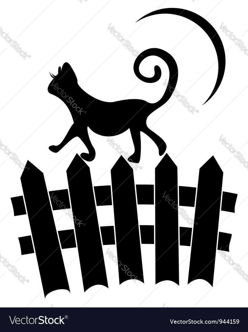 Cat on fence vector | Price: 1 Credit (USD $1)