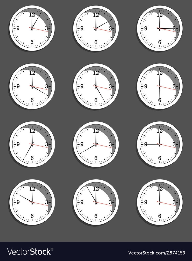 Clocks showing different time vector | Price: 1 Credit (USD $1)