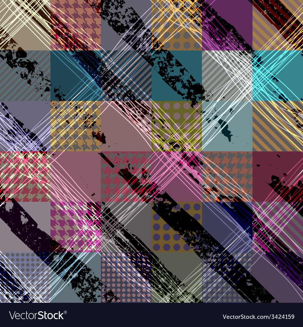 Diagonal plaid pattern with grunge effect vector | Price: 1 Credit (USD $1)
