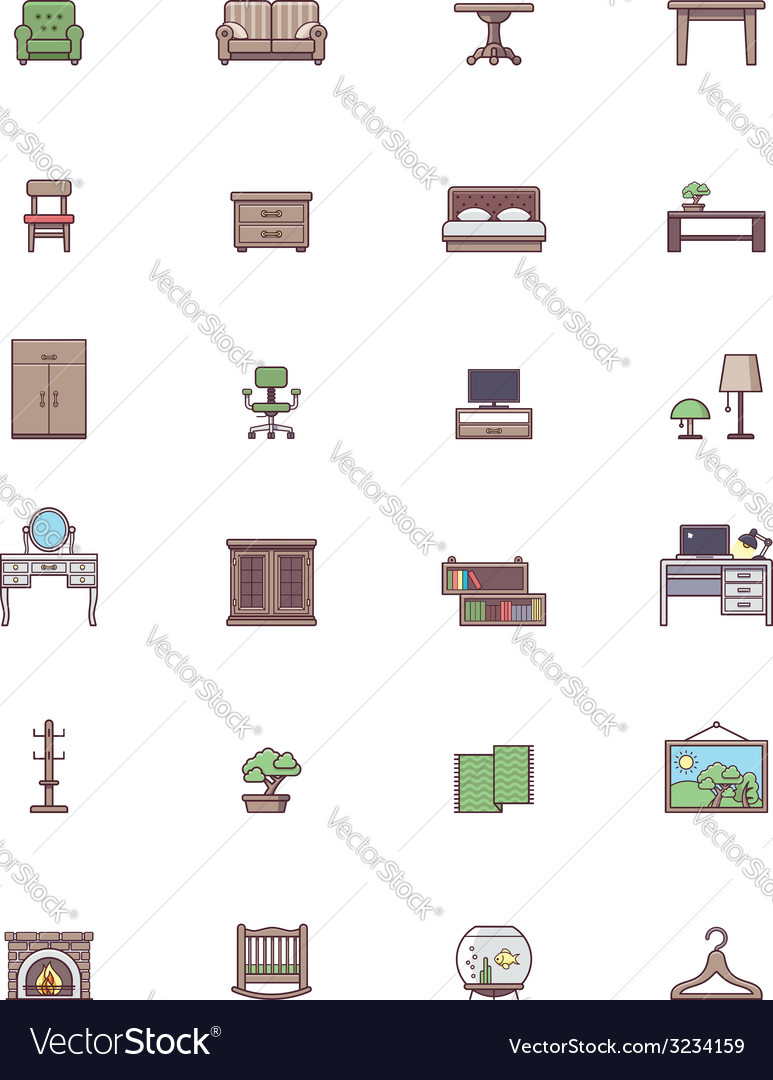 Domestic furniture icon set vector | Price: 1 Credit (USD $1)