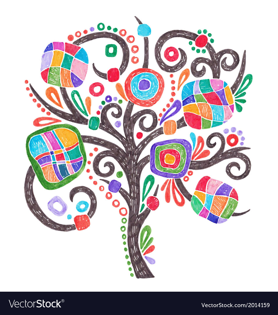Doodle marker hand drawing of ornate tree vector | Price: 1 Credit (USD $1)
