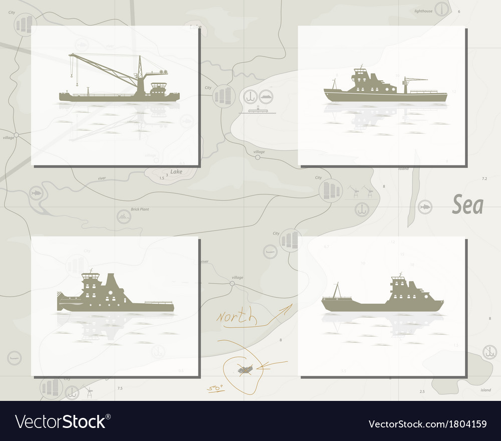 Map with ships vector | Price: 1 Credit (USD $1)