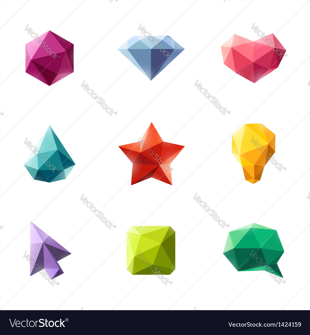 Polygonal geometric figures - set of elements vector | Price: 1 Credit (USD $1)