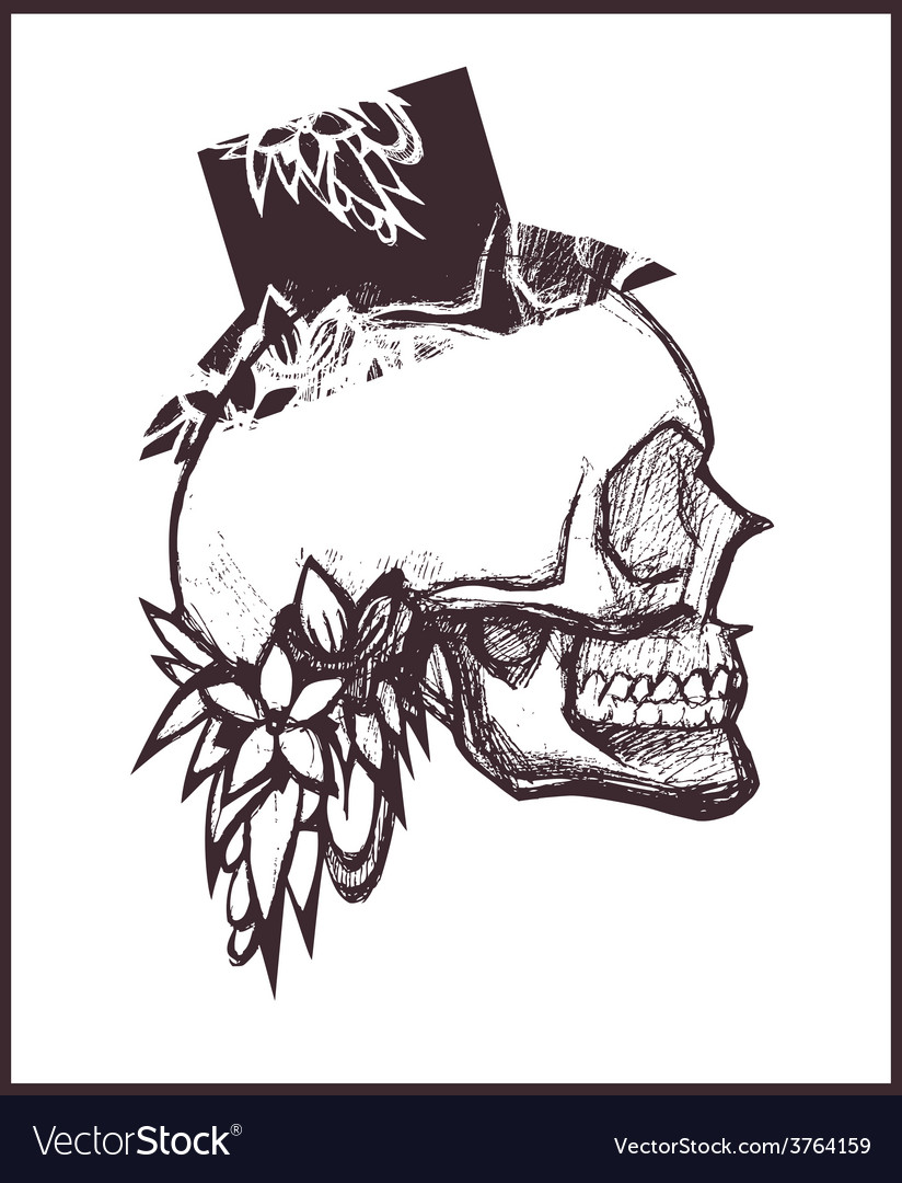 Scull with top hat vector | Price: 1 Credit (USD $1)