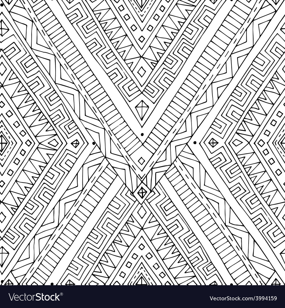 Seamless asian ethnic black and white pattern vector | Price: 1 Credit (USD $1)